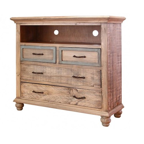 International Furniture Direct Praga  4 Drawer Media Chest with Open Media Compartment