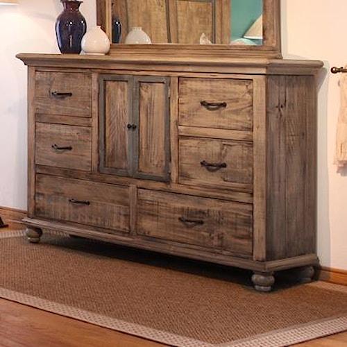 International Furniture Direct Praga  Dresser with 6 Drawers and 2 Doors