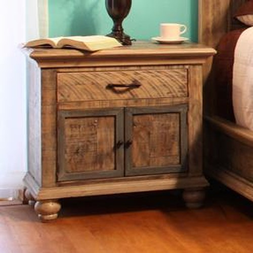 International Furniture Direct Praga  Nightstand with 2 Doors and 1 Drawer