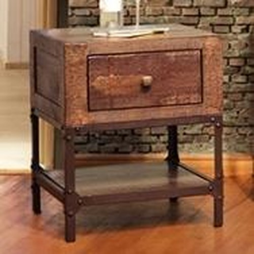 International Furniture Direct Urban Gold Rustic Contemporary End Table with 1 Drawer