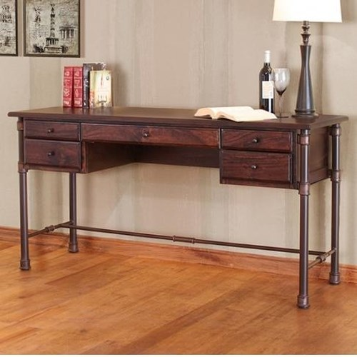 International Furniture Direct Mango Desk Industrial Desk with Mango Wood Top and Iron Base