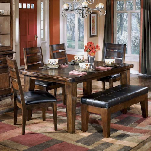 Signature Design by Ashley Larchmont Rectangular Dining Table, 4 Chairs, and 1 Bench