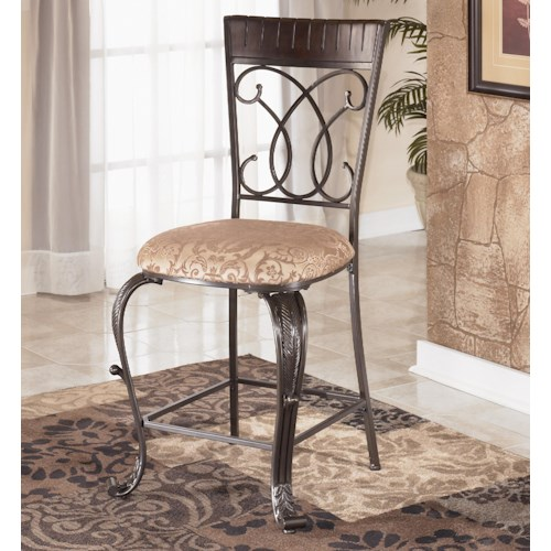 Ashley Furniture Alyssa 24 inch Wood and Metal Bar Stool with Damask Seat