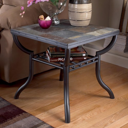 Signature Design by Ashley Antigo Slate Top Square End Table