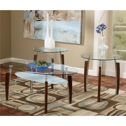 Signature Design by Ashley Avani 3-in-1 Pack Occasional Tables with 1 Cocktail Table and 2 End Tables