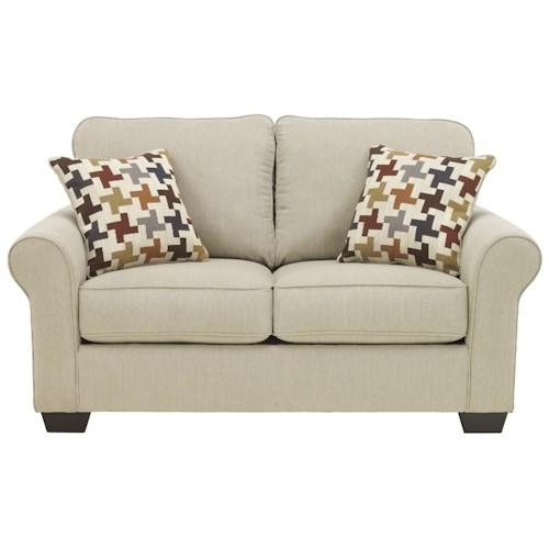 Ashley Furniture Caci Contemporary Loveseat with Rolled Arms