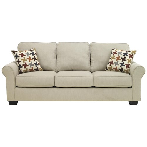 Ashley Furniture Caci Contemporary Queen Sofa Sleeper with Rolled Arms