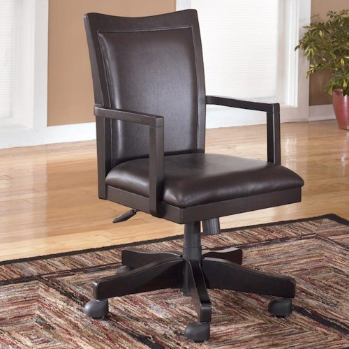 Signature Design by Ashley Carlyle Upholstered Office Arm Chair with Rolling Swivel Base and Adjustable Height