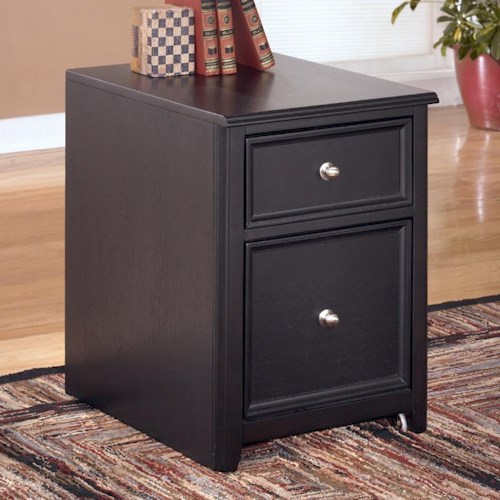 Signature Design by Ashley Carlyle 2 Drawer Mobile File Cabinet with Concealed Wheels