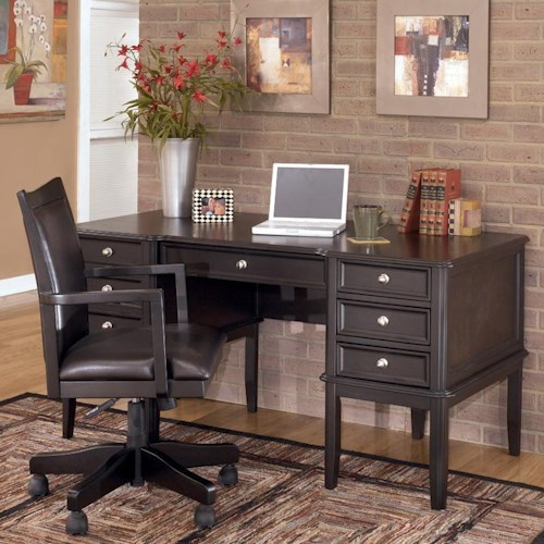 Signature Design by Ashley Carlyle Leg Desk with Center Rollout Drawer and 2 Side Drawers