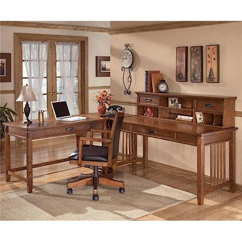 Ashley Furniture Cross Island L-Shape Desk with Low Hutch