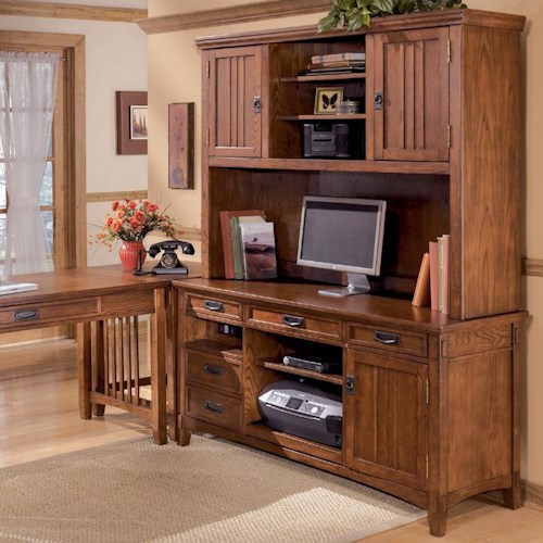 Ashley Furniture Cross Island Office Mission Credenza Desk & 2 Door Hutch Set