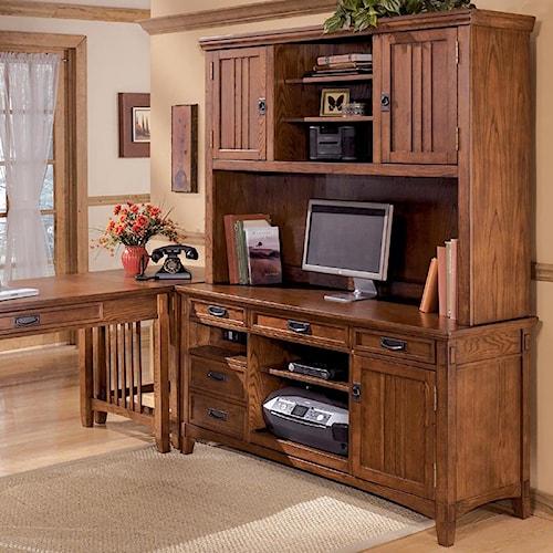 Ashley Furniture Cross Island Office Mission Credenza Desk & 2 Door Hutch Set