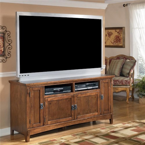 Ashley Furniture Block Island 60 Inch Oak TV Stand with Mission Style Hardware