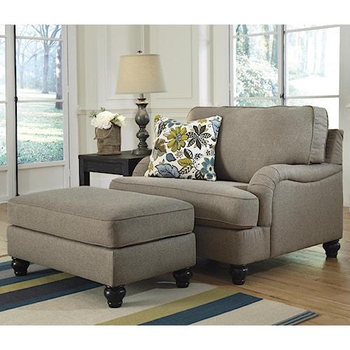 Ashley Furniture Hariston - Shitake Chair and a Half & Ottoman