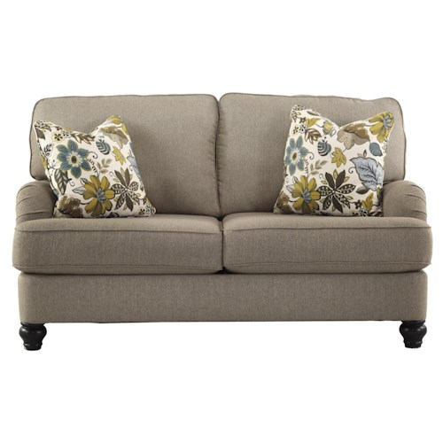 Ashley Furniture Hariston - Shitake Loveseat with English Arms