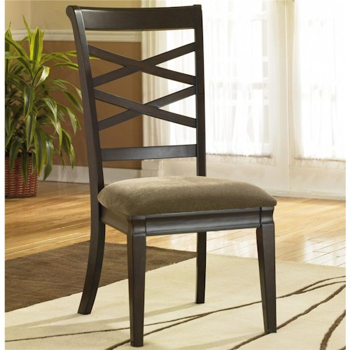 Ashley Furniture Hayley X-Back Dining Side Chair with Upholstered Seat