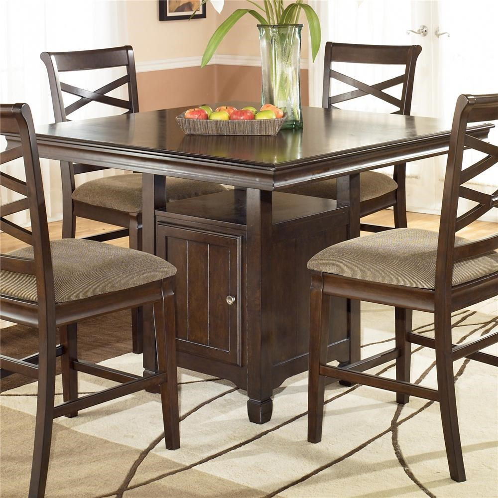 Signature Design By Ashley Furniture Hayley Contemporary Square Counter  Height Pedestal Table With Storage