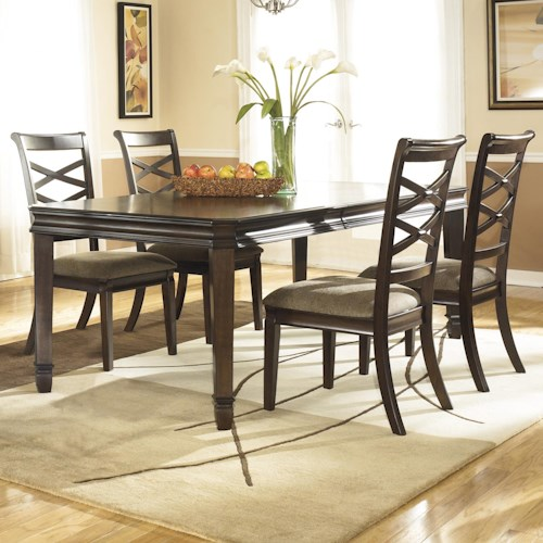 Ashley Furniture Hayley Contemporary 5 Piece Dining Set with Double X Back Dining Chairs