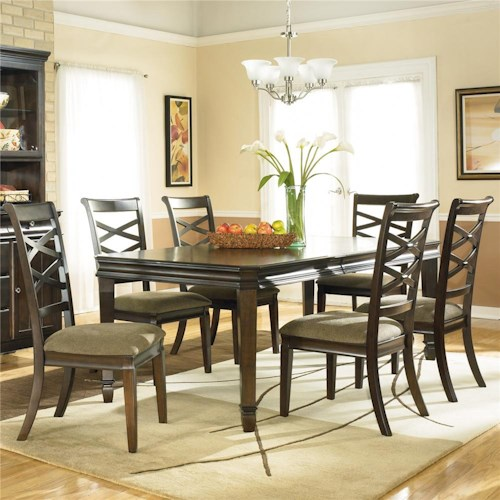 Ashley Furniture Hayley Contemporary 7 Piece Dining Set with X-Back Chairs