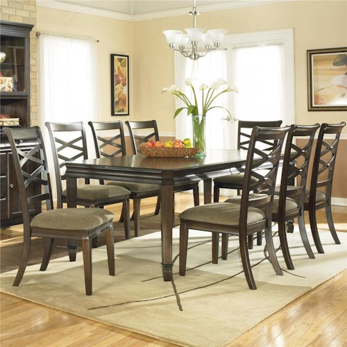 Ashley Furniture Hayley Contemporary Rectangular Dining Table with 8 Side Dining Chairs