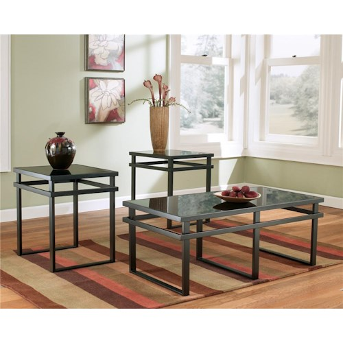 Signature Design by Ashley Laney 3-in-1 Pack with Cocktail Table & 2 End Tables with Metal Frame