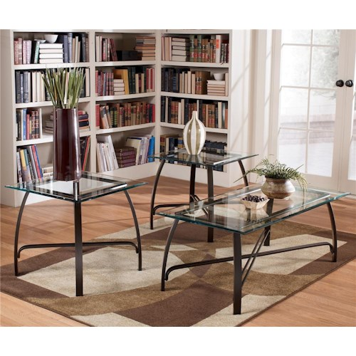 Signature Design by Ashley Liddy Contemporary 3-in-1 Pack Occasional Tables with Cocktail Table and 2 End Tables