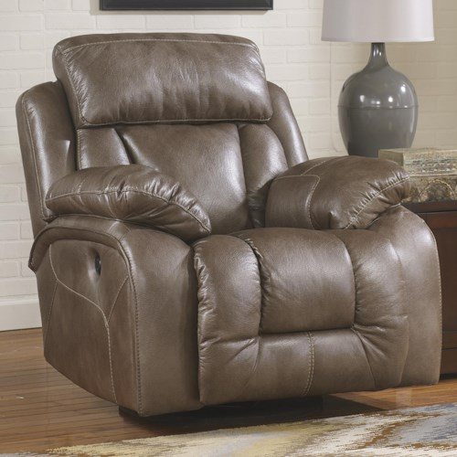 Ashley Furniture Loral - Sable Contemporary Faux Leather Swivel Power Rocker Recliner