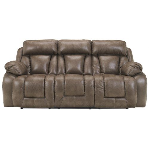 Ashley Furniture Loral - Sable Contemporary Faux Leather Reclining Power Sofa