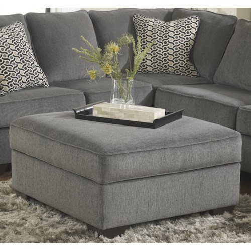 Ashley Furniture Loric - Smoke Square Cocktail Ottoman With Storage & Removable Top