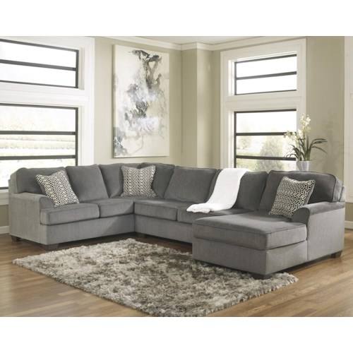 Ashley Furniture Loric - Smoke Contemporary 3-Piece Sectional with Right Chaise