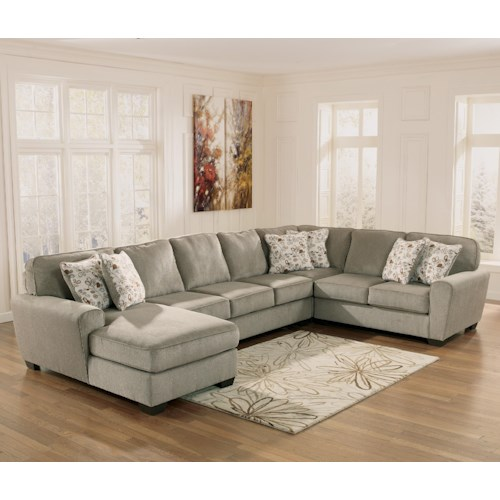 Ashley Furniture Patola Park - Patina 4-Piece Sectional with Left Chaise