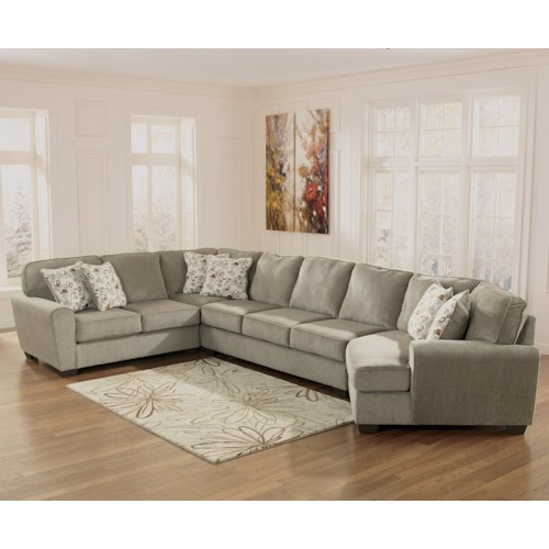 Ashley Furniture Patola Park - Patina 4-Piece Sectional with Right Cuddler