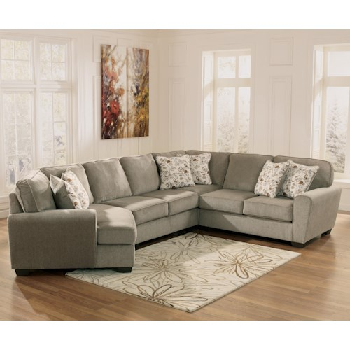 Ashley Furniture Patola Park - Patina 4-Piece Small Sectional with Left Cuddler