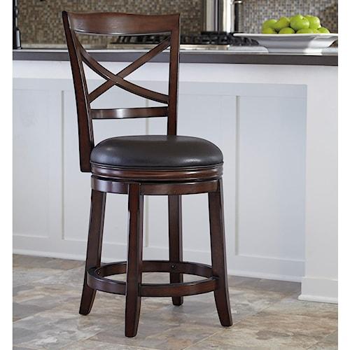 Ashley Furniture Porter Counter Height X-Back Upholstered Swivel Barstool