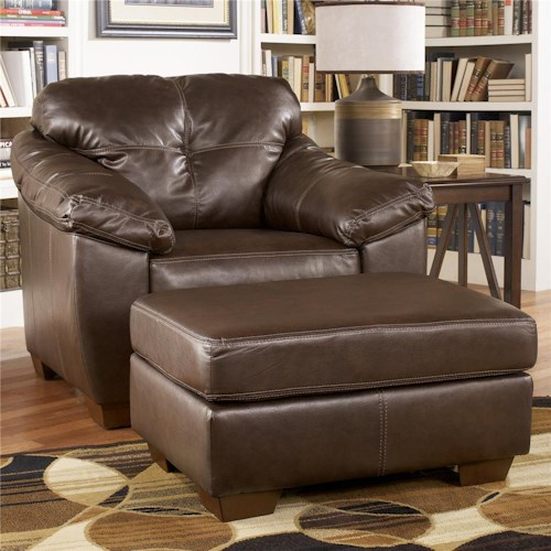 Ashley Furniture San Lucas Harness Faux Leather Stationary – Upholstered Chair with Ottoman