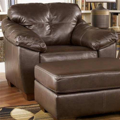 Ashley Furniture San Lucas - Harness Faux Leather Upholstered Chair with Pillow-top Arms