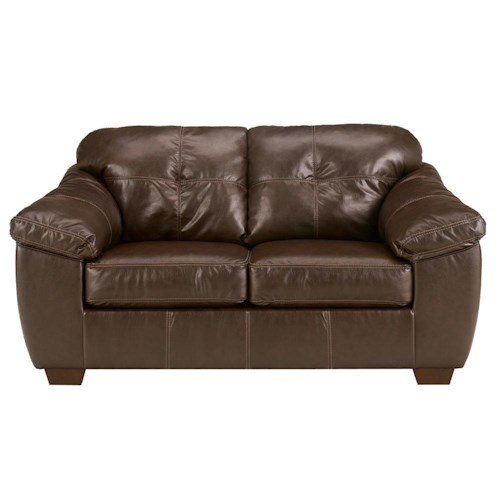 Ashley Furniture San Lucas - Harness Faux Leather Stationary Upholstered Loveseat