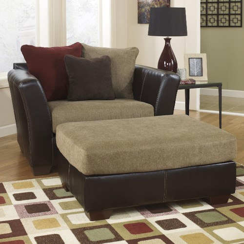 Ashley Furniture Sanya - Mocha Chair and a Half & Ottoman