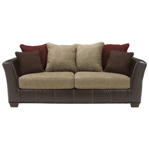 Ashley Furniture Sanya - Mocha Faux Leather/Fabric Sofa