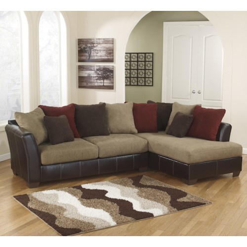 Ashley Furniture Sanya - Mocha 2-Piece Sectional with Right Chaise