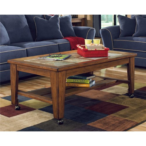 Signature Design by Ashley Furniture Toscana Rectangular Cocktail Table with Casters