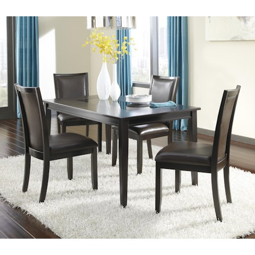 Ashley Furniture Trishelle 5-Piece Rectangular Dining Table Set with Brown Chairs