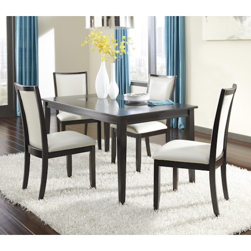 Ashley Furniture Trishelle 5-Piece Rectangular Dining Table Set with Ivory Chairs