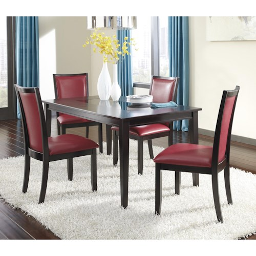Ashley Furniture Trishelle 5-Piece Rectangular Dining Table Set with Red Chairs