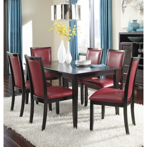 Ashley Furniture Trishelle 7-Piece Rectangular Dining Table Set with Red Chairs
