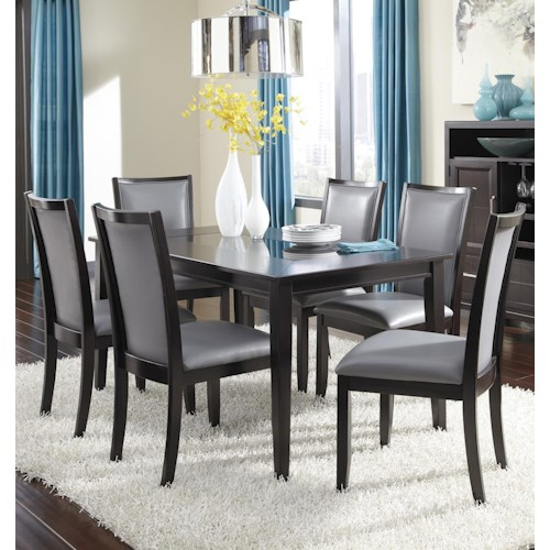 Ashley Furniture Trishelle 7-Piece Rectangular Dining Table Set with Gray Chairs