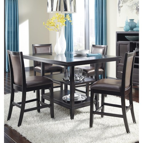 Ashley Furniture Trishelle 5-Piece Counter Table Set with Brown Upholstered Barstools