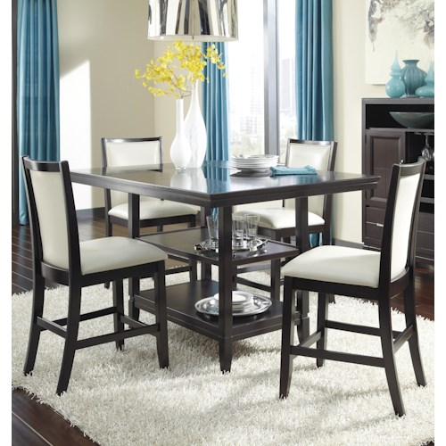 Ashley Furniture Trishelle 5-Piece Counter Table Set with Ivory Upholstered Barstools