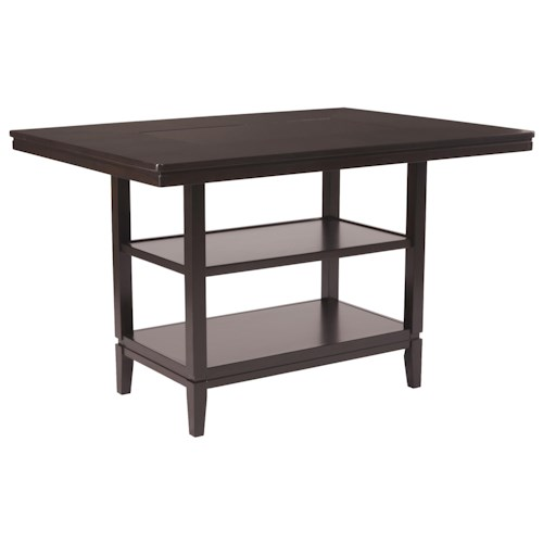 Ashley Furniture Trishelle Rectangular Dining Room Counter Table with Inset Black Glass Top